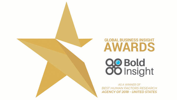 Bold Insight awarded Best Human Factors Research Agency of 2018